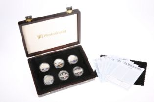 """A """"RETURN TO ATHENS"""" SILVER PROOF FIVE POUNDS SIX-COIN COLLECTION, boxed with COAs"""