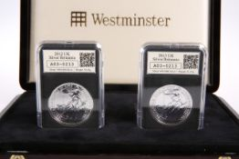 A DATESTAMP TWO-COIN '958' AND '999' SILVER BRITANNIA SET, comprising 2012 and 2013, boxed with COA