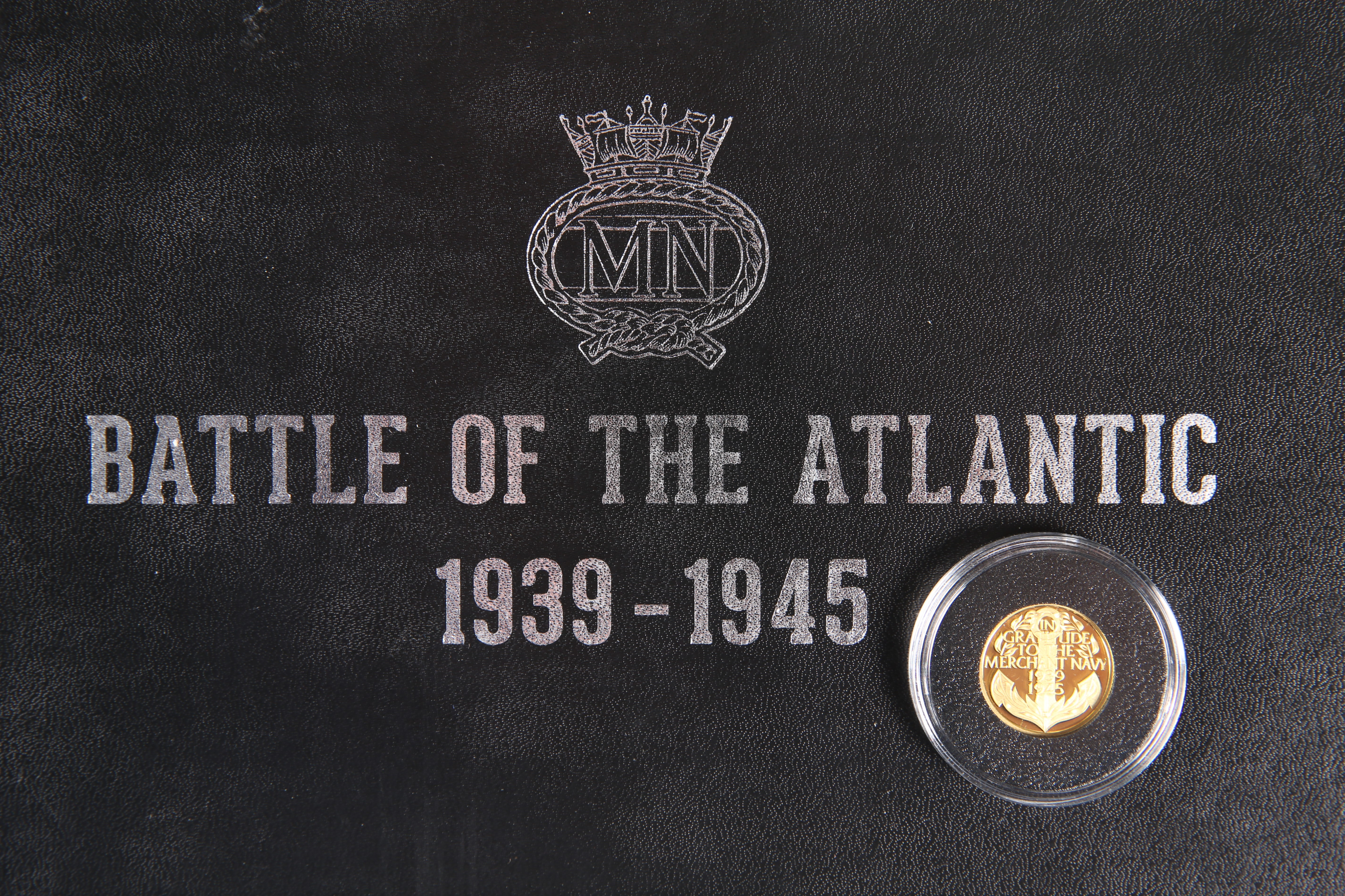 """A GOLD PROOF QUARTER CROWN, """"IN GRATITUDE TO THE MERCHANT NAVY 1939-1945"""", boxed, with certificate - Image 2 of 3"""