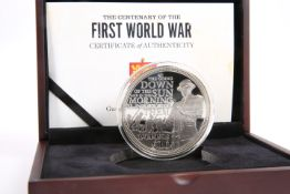 A CENTENARY OF THE FIRST WORLD WAR GUERNSEY SILVER 5OZ COIN, boxed with COA no. 249 (of a limited