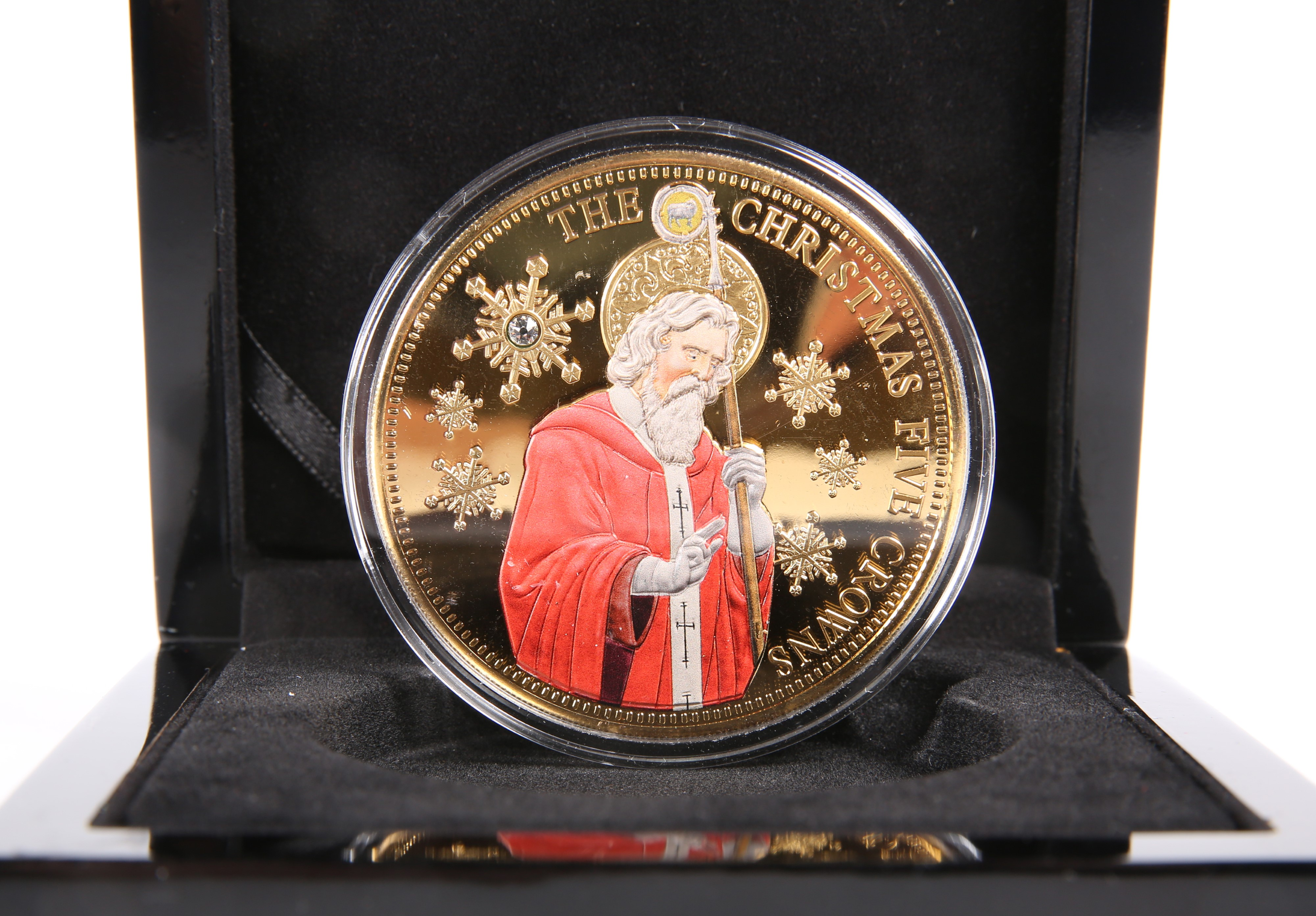 A CHRISTMAS FIVE CROWNS COIN, boxed.
