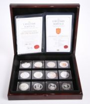 A QUEEN ELIZABETH II LIFETIME OF SERVICE SILVER PROOF TWELVE COIN COLLECTION, boxed with COAs
