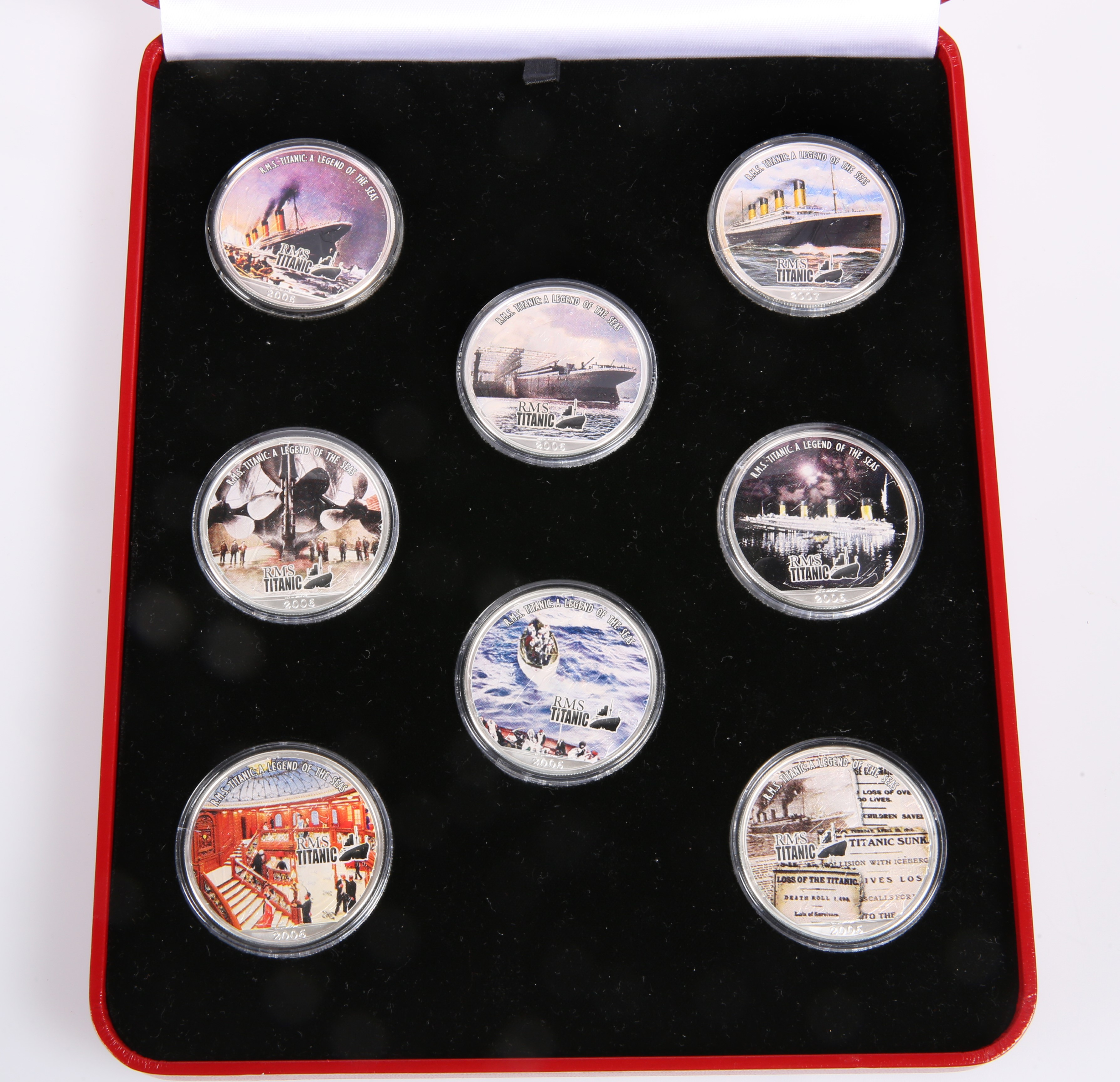 AN RMS TITANIC SILVER EIGHT-COIN COLLECTION, boxed with certificates, each corner 1oz. - Image 2 of 3