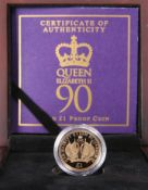 "A 2016 GOLD PROOF ONE POUND COIN, ""HER MAJESTY THE QUEEN'S 90TH BIRTHDAY"", no. 994, boxed with"