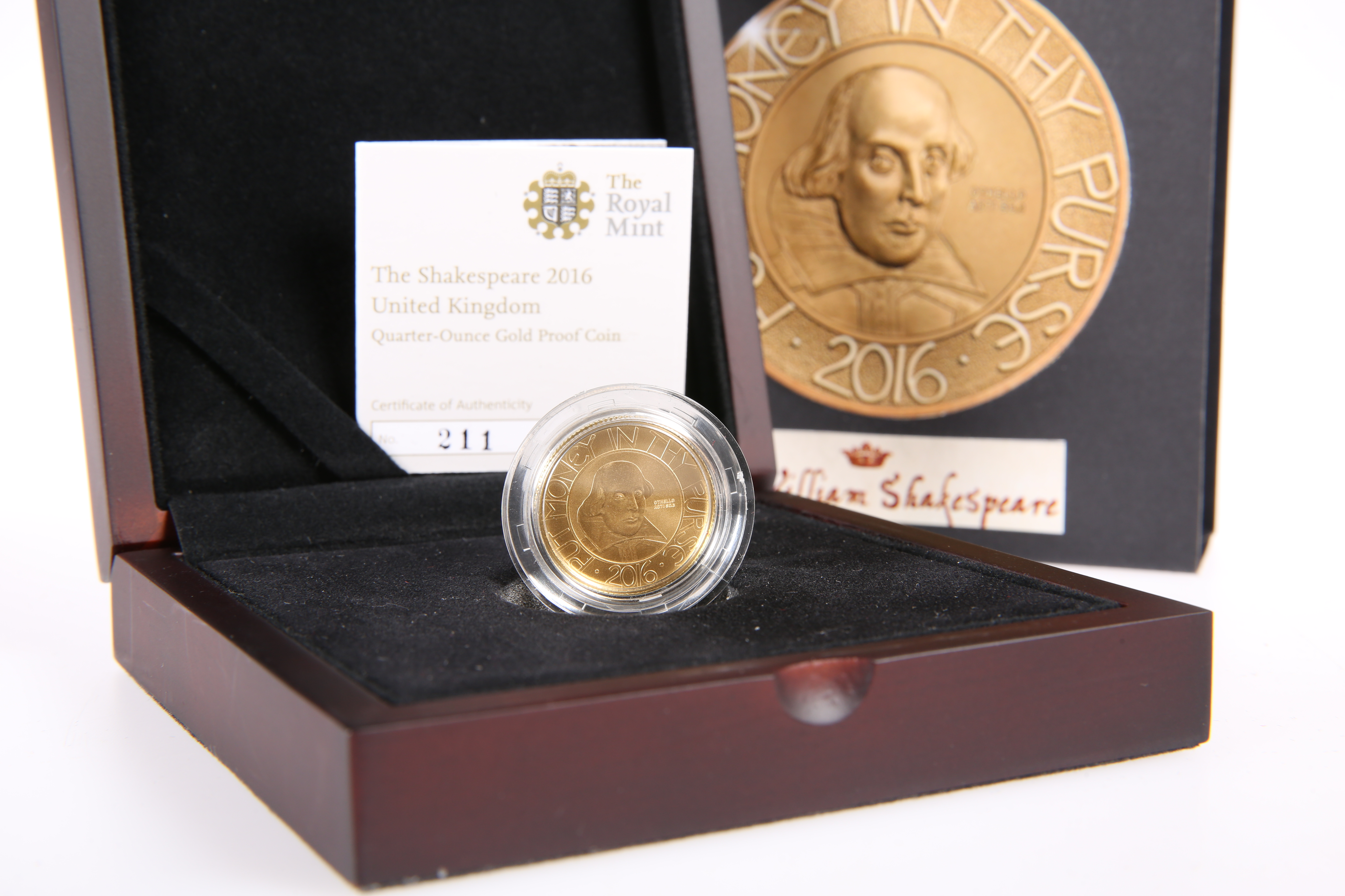 """A ROYAL MINT QUARTER-OUNCE GOLD PROOF COIN, """"THE SHAKESPEARE 2016"""", boxed with COA no. 211 - Image 2 of 2"""