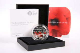 """A ROYAL MINT £5 SILVER PROOF PIEDFORT COIN, """"THE REMEMBRANCE DAY 2017"""", boxed with COA no. 0427"""