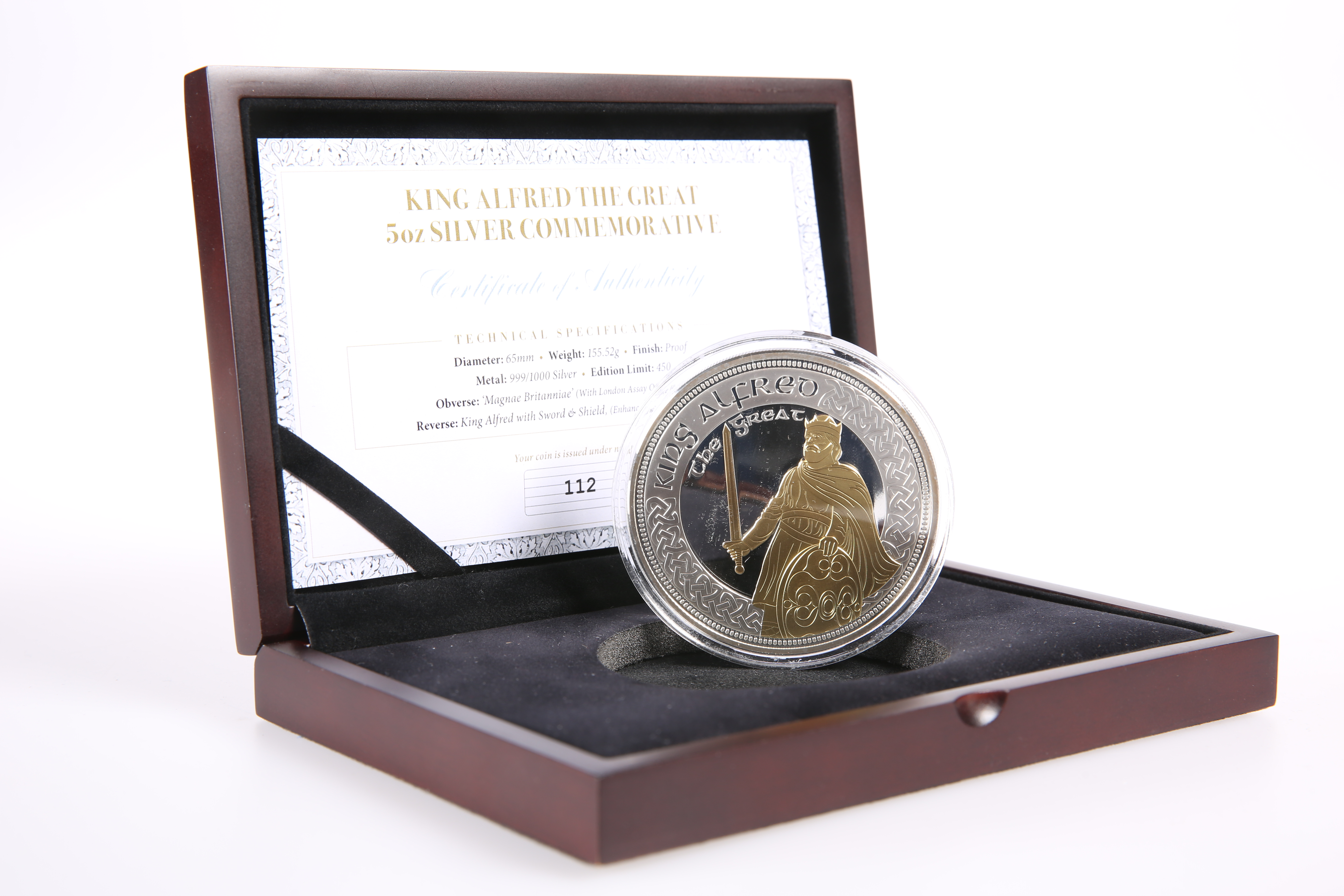 A KING ALFRED THE GREAT 5OZ SILVER COMMEMORATIVE, boxed with COA no. 112