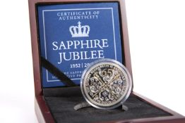 A SAPPHIRE JUBILEE SILVER FIVE POUNDS PROOF COIN WITH GENUINE SAPPHIRE, boxed with COA no. 1224