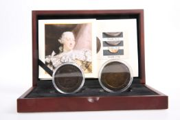 THE 1797 GEORGE III 'CARTWHEEL' COIN SET, comprising One Penny and Two Pence, boxed with The