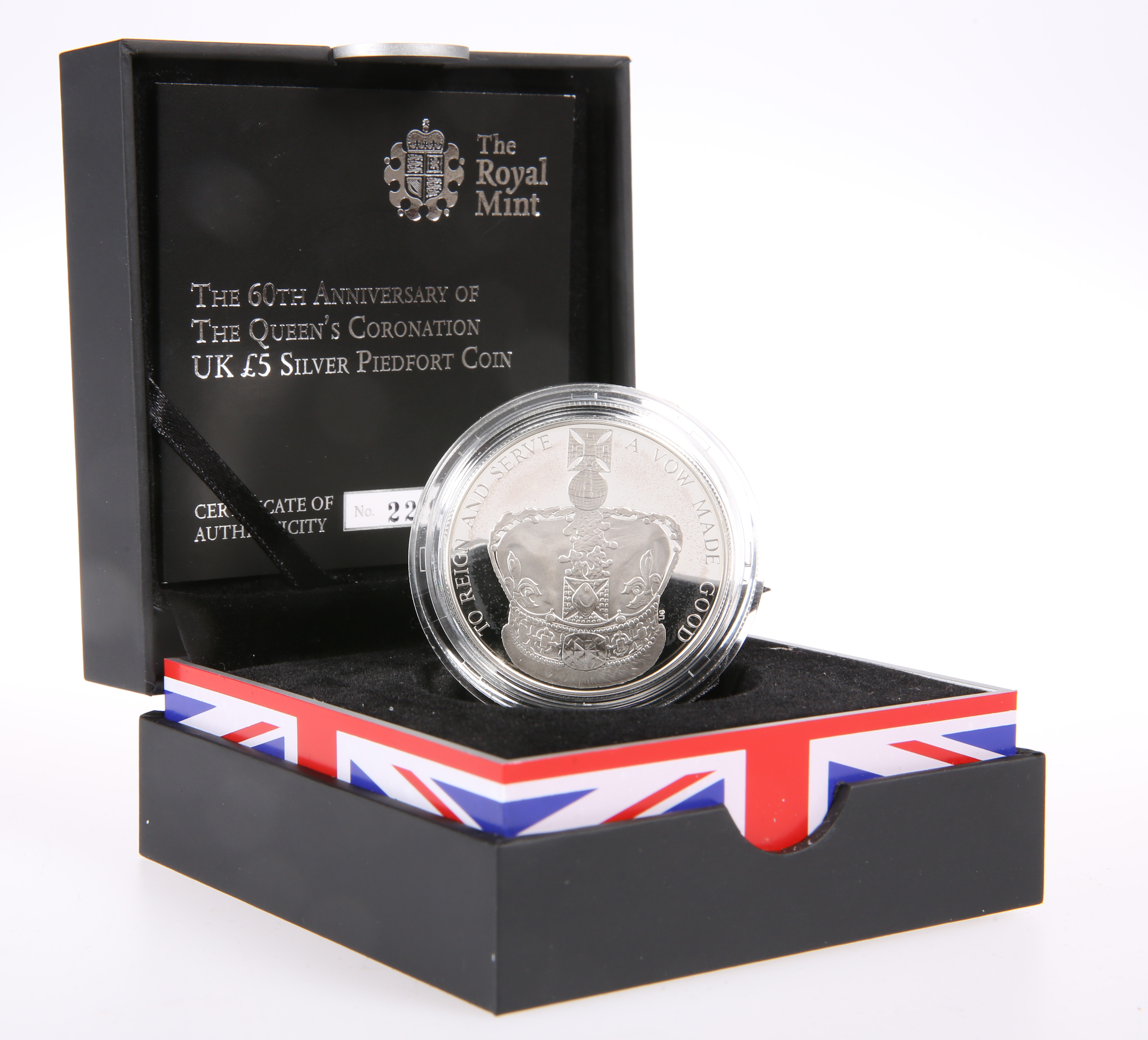 """A ROYAL MINT £5 SILVER PIEDFORT COIN, """"THE 60TH ANNIVERSARY OF THE QUEEN'S CORONATION"""", boxed with"""