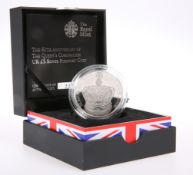 "A ROYAL MINT £5 SILVER PIEDFORT COIN, ""THE 60TH ANNIVERSARY OF THE QUEEN'S CORONATION"", boxed with"