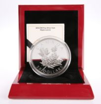 """A ROYAL CANADIAN MINT 2014 $50 FINE SILVER HIGH RELIEF COIN, """"MAPLE LEAVES"""", boxed with COA"""