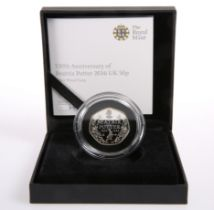 A ROYAL MINT 150TH ANNIVERSARY OF BEATRIX POTTER 2016 50P SILVER PROOF COIN, boxed with COA no.