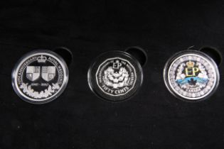 """A SILVER THREE COIN PROOF SET, """"THE PLATINUM WEDDING ANNIVERSARY"""", boxed with COA"""
