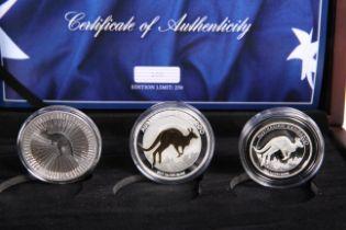 A 2017 AUSTRALIAN SILVER KANGAROO NUMISMATIC SET, the three coins boxed with COA