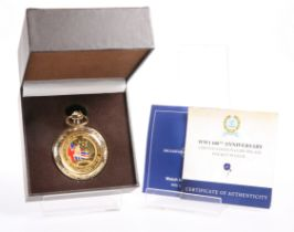 """A LIMITED EDITON BRADFORD EXCHANGE COIN-INLAID POCKET WATCH, """"WW1 100TH ANNIVERSARY"""", boxed with"""