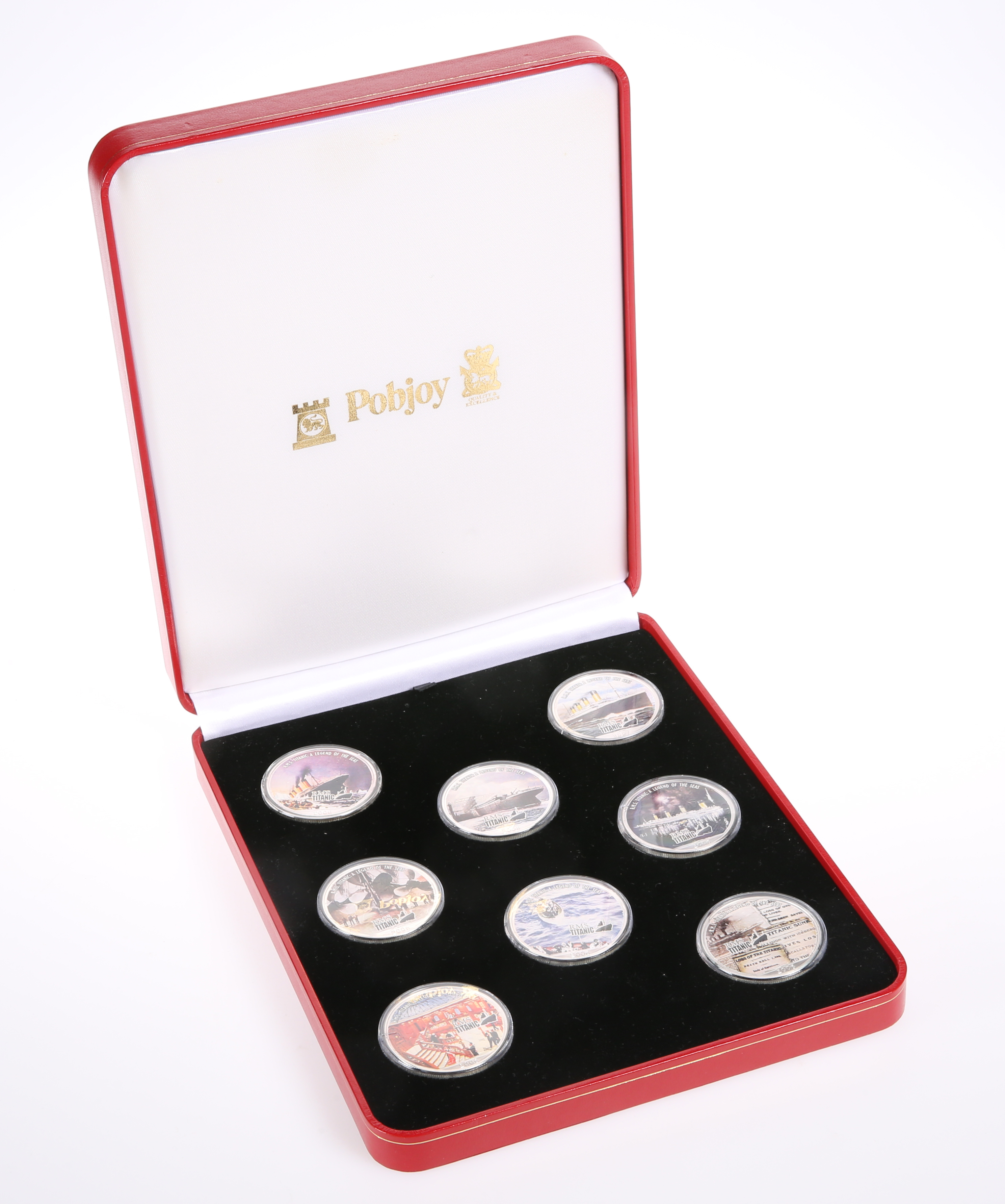 AN RMS TITANIC SILVER EIGHT-COIN COLLECTION, boxed with certificates, each corner 1oz.