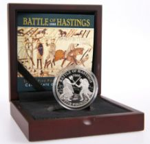 A WESTMINSTER BATTLE OF HASTINGS SILVER FIVE POUNDS PROOF COIN, boxed with COA no. 0388