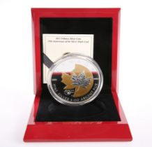 """A ROYAL CANADIAN MINT 2013 5OZ $50 FINE SILVER COIN, """"25TH ANNIVERSARY OF THE SILVER MAPLE LEAF"""","""