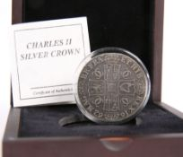 A CHARLES II SILVER CROWN 1662, boxed with Westminster COA