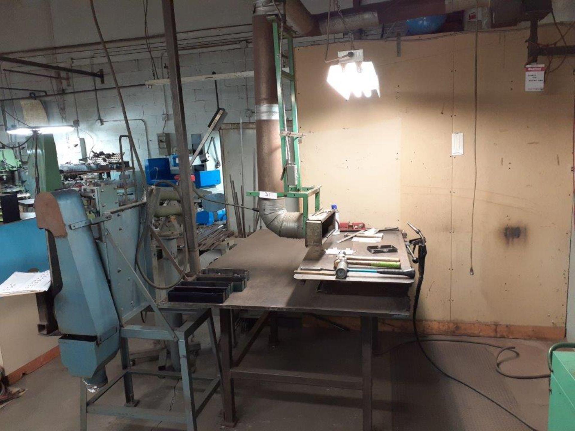"Magnetic Welding Chuck, 22"" x 12"" c/w Extension: 44"" x 22"" & Exhaust Hood c/w Tools & Accessories"