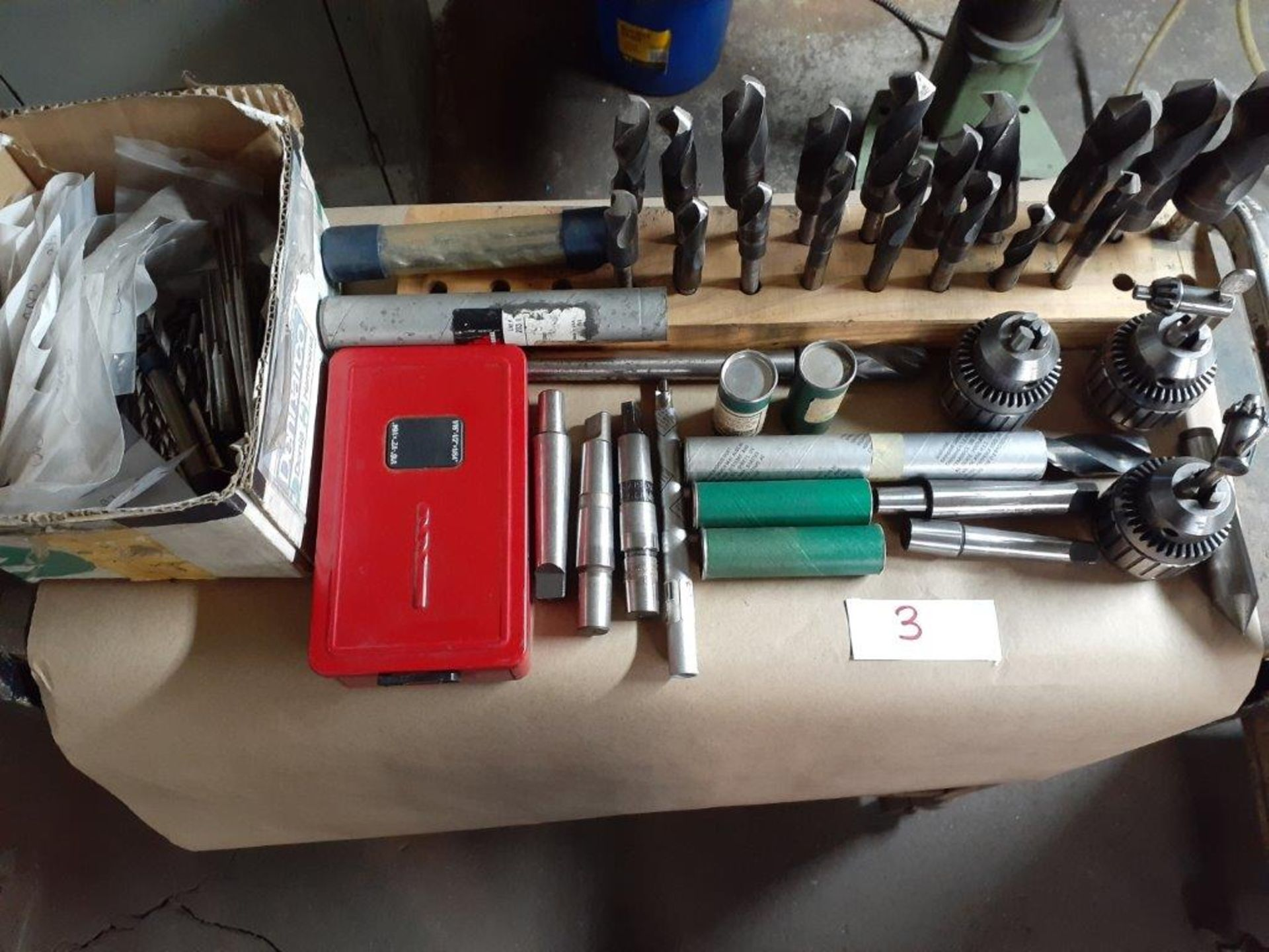 Assorted Drill Chucks & Mounting Flanges, c/w Mobile Table - Image 4 of 4