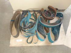 """LOT: (54 pcs) Assorted Abbrasive Sanding Belts: (5) 6"""" x 60"""" - 60 grit - (14) 2"""" x 60"""" - 50 grit, ("""