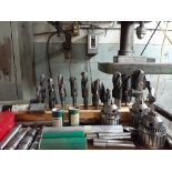 Assorted Drill Chucks & Mounting Flanges, c/w Mobile Table