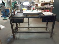 "LOT: Metal Frame Work Table 24"" x 60"", c/w: #5 RECORD Vise & Clamp-on Lamp"