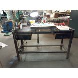 """LOT: Metal Frame Work Table 24"""" x 60"""", c/w: #5 RECORD Vise & Clamp-on Lamp"""