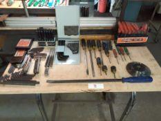 LOT: Asst. UNBRAKO Tools & Asst. Blades, Screwdrivers, etc. c/w Mobile Table