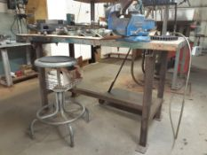 "Steel Work Table, c/w 4"" RECORD Vise & Stool"