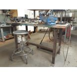"""Steel Work Table, c/w 4"""" RECORD Vise & Stool"""