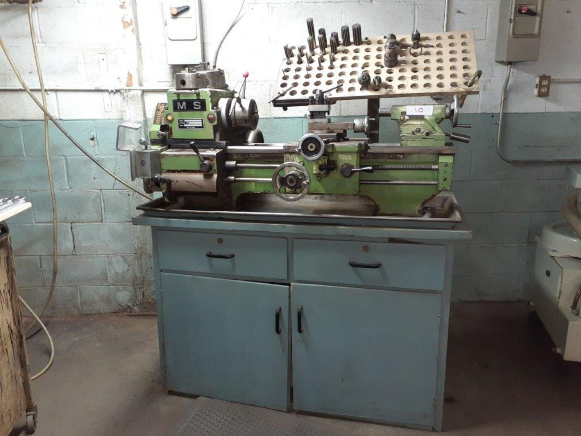 """MS Metal Lathe, 20"""" open, mod: SS+23, c/w Wooden Base & Chuck Drills - Image 2 of 4"""
