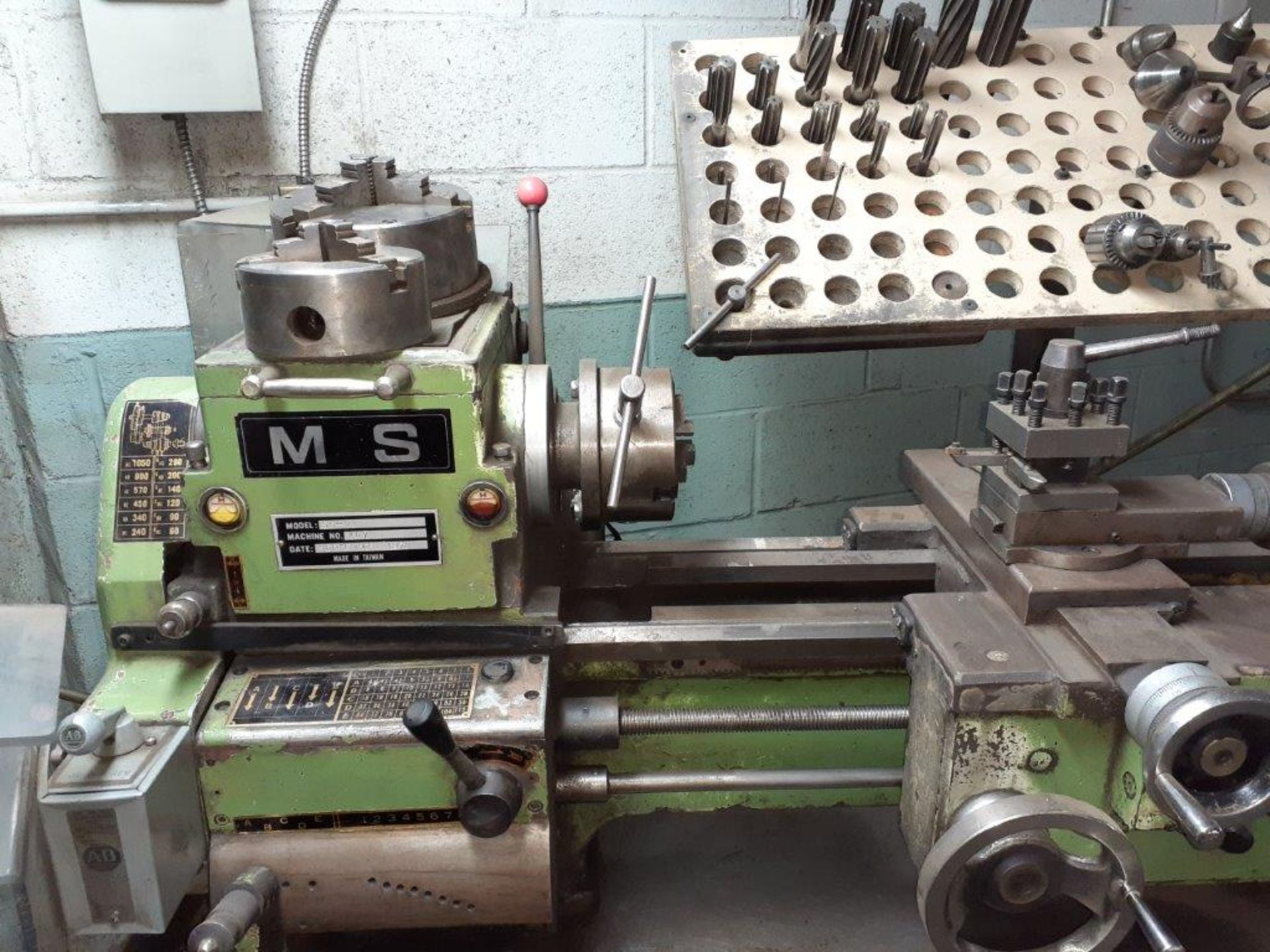 """MS Metal Lathe, 20"""" open, mod: SS+23, c/w Wooden Base & Chuck Drills - Image 4 of 4"""