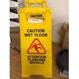 """LOT: """"Caution Wet Floor"""" signage, 2pcs"""