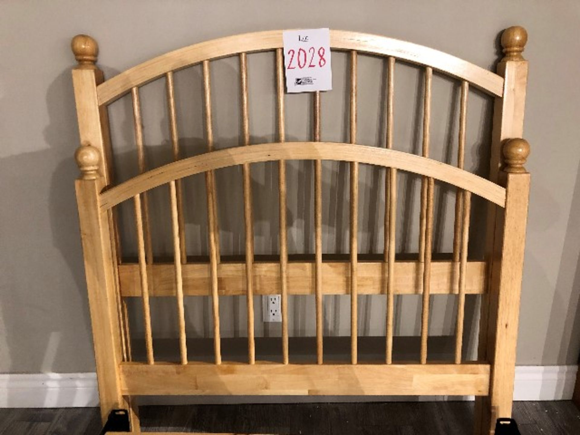 Lot 2028 - Single bed frame, headboard, footboard & slats (Lot)