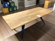 "Butcher block style table w/metal base, 82""x35""x29"""