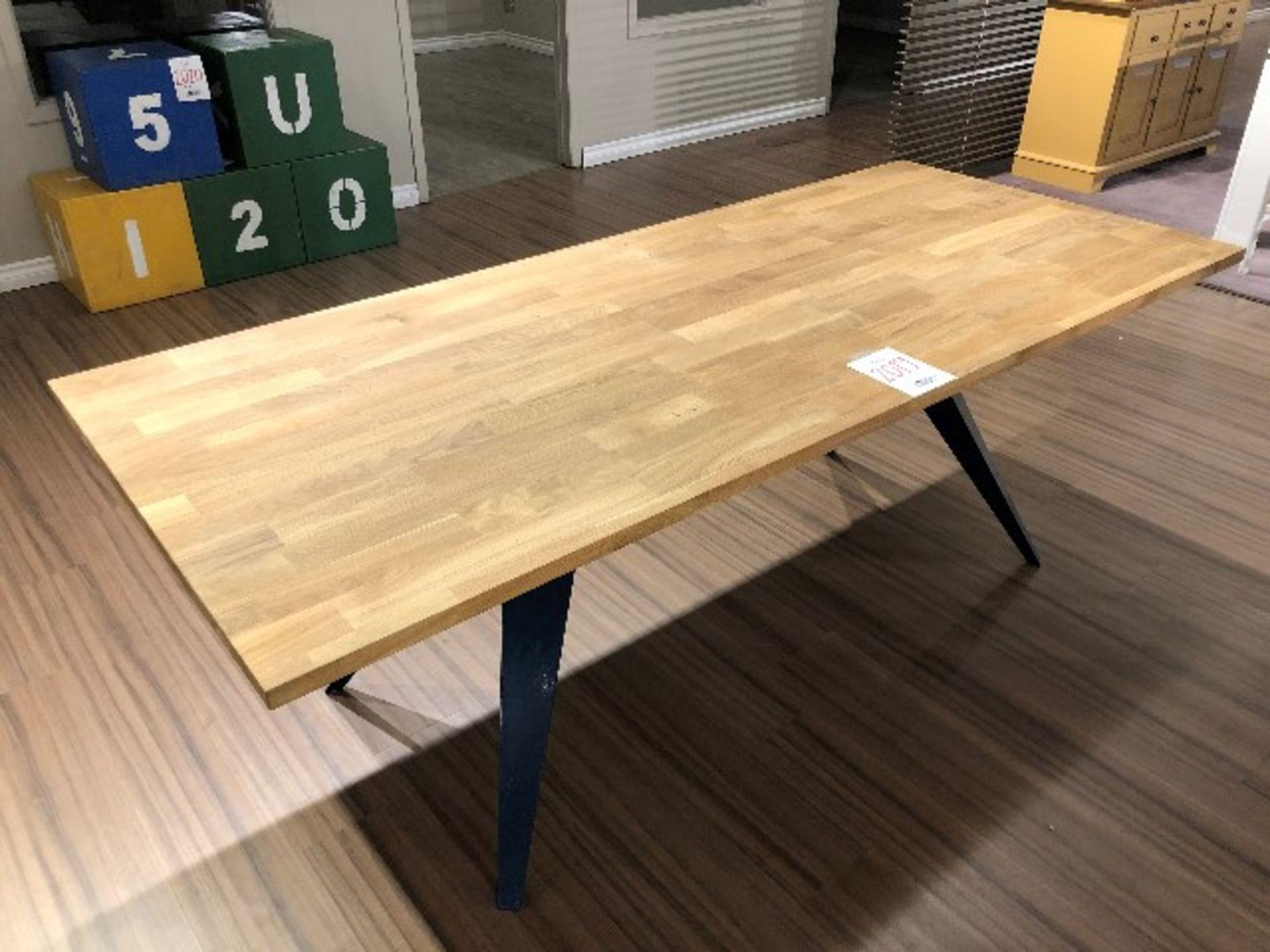 """Lot 2019 - Butcher block style table w/metal base, 82""""x35""""x29"""""""