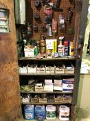Assorted parts, chemicals, approx. 60 pcs, etc... (Lot)