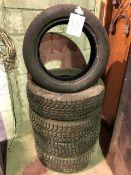Assorted tires, 215/70R16 x 4 pcs, 235/50ZR18 x 1 pc, 5 pcs total (Lot)