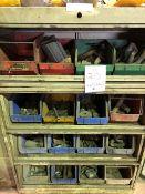Assorted hardware, 16 bins (Lot)