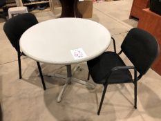 Round table w/2 visitor chairs (Lot)