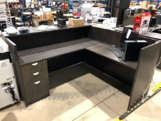 """L"" shaped office reception desk, approx. 71""x72"""