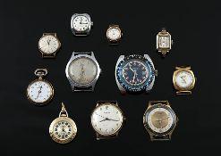 Konvolut9 Herren- und Damenarmbanduhren, 2 Damenanhängeruhren, z. B.: Kienzle, Dugena, Meister-