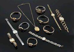 Konvolut 11 Damenarmbanduhren, 1 Damenanhängeruhr mit Kette, z. B.: Tissot, BWC, Dugena, Bifora,