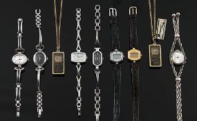 Konvolut6 Damenarmbanduhren, 3 Damenanhängeruhren mit Kette. Sechs Handaufzüge gangbar, einer