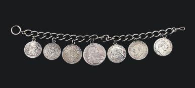 Uhrkette mit sieben Silbermünzen Kette 800er Silber. Silbermünzen bayer. Könige: 2 x Maximilian