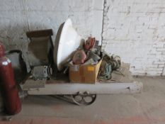"Railroad Cart with Contents approx. 63"" x 25"" x 18"""