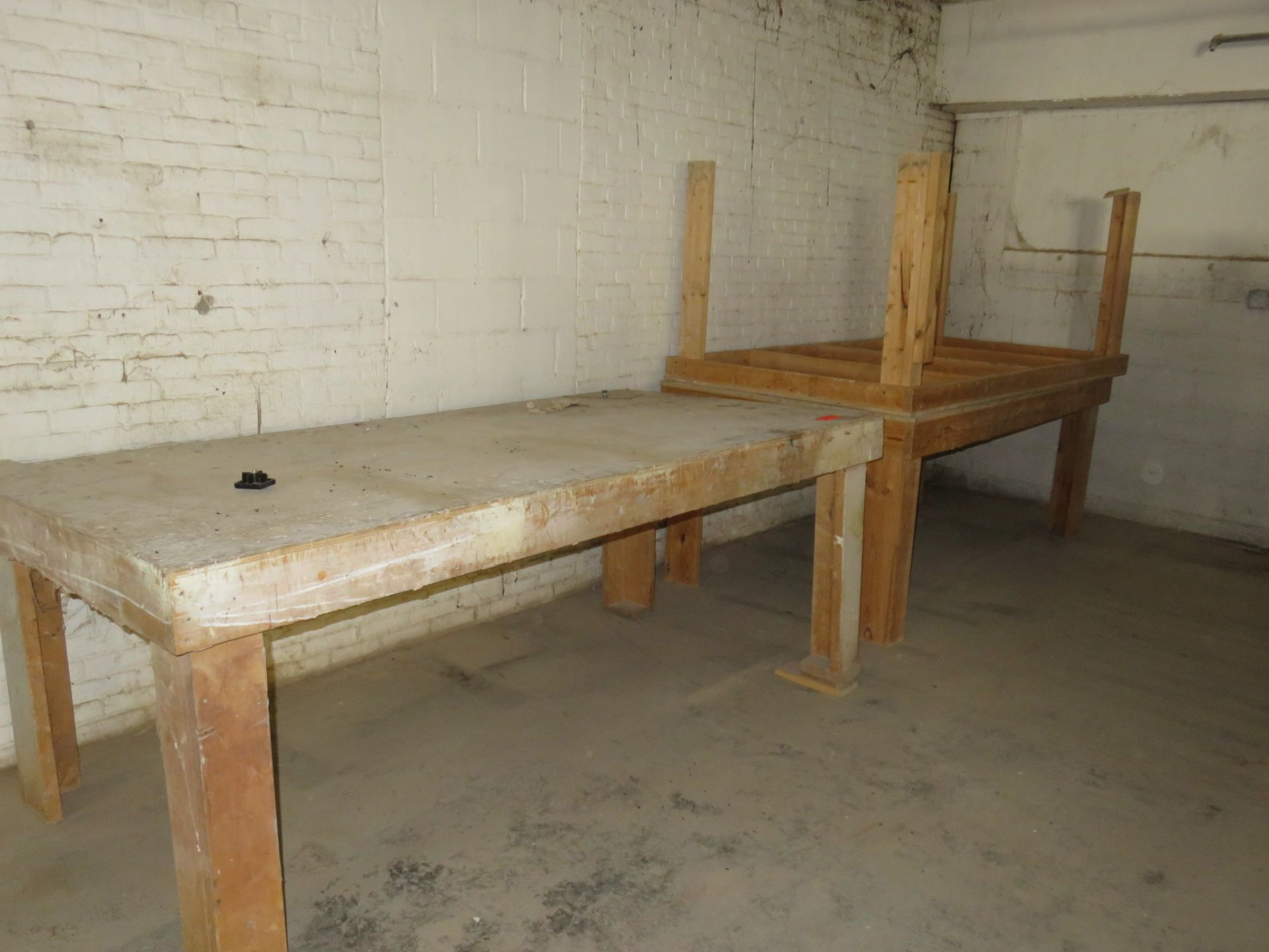 """Heavy Duty Wooden Work Tables Lot of 3 approx. 48 """"x 96"""" x 37"""""""